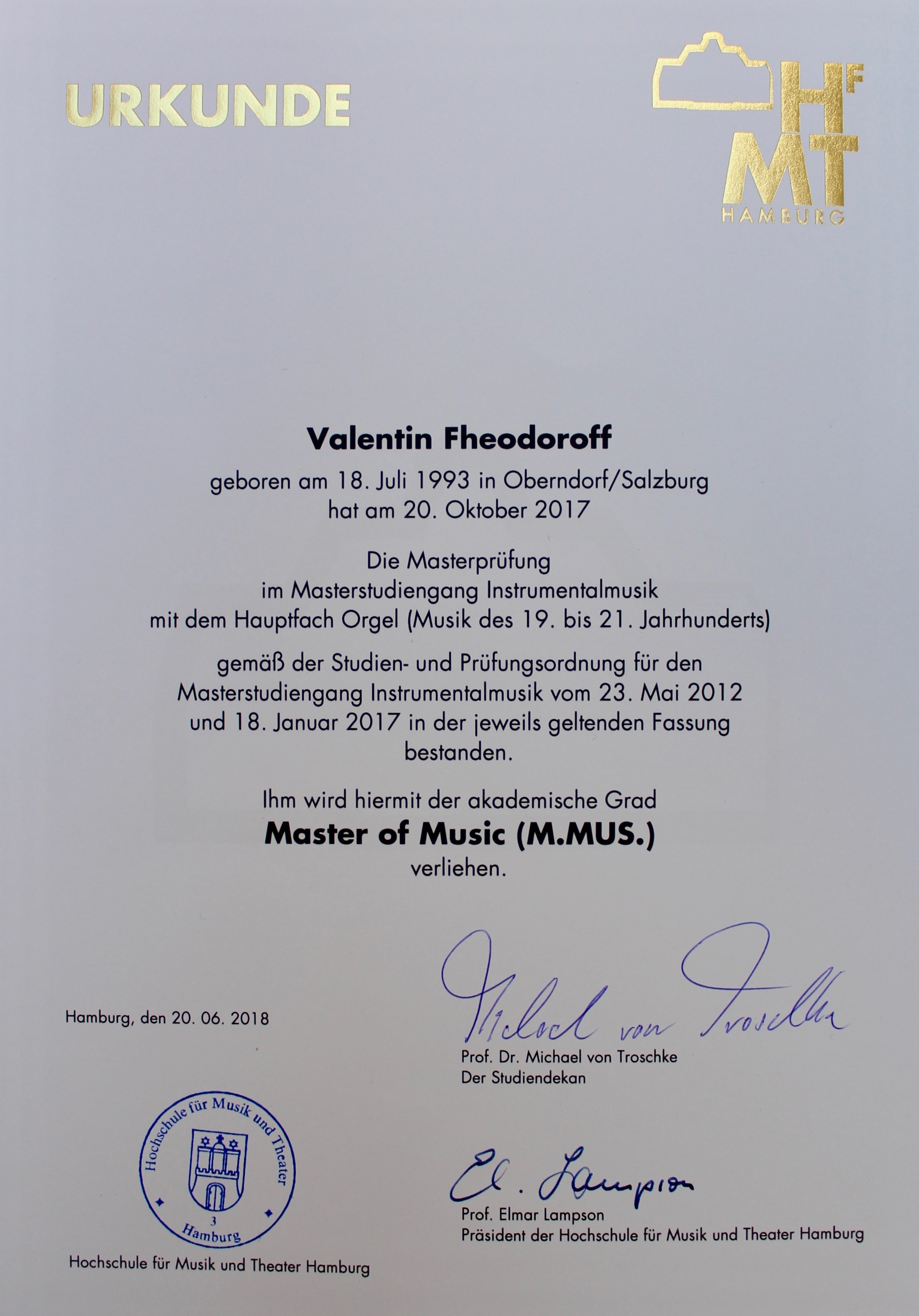Master of Music in Hamburg